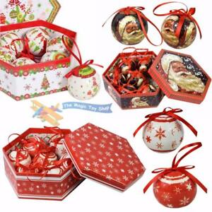 Set-of-7-Traditional-Christmas-Santa-Red-White-Baubles-Decoration-Tree-Balls-Box