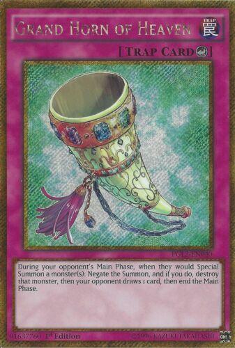 PGL3-EN040 Yugioh 1st Edition Grand Horn of Heaven Gold Secret Rare