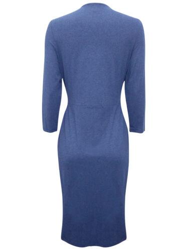 KALIKO Denim Jersey Wrap Plissé Robe-Taille UK 8-18