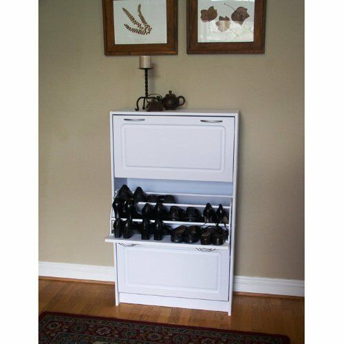 4d Concepts Deluxe Triple Shoe Cabinet in White | eBay