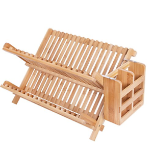 HBlife-Dish-Rack-HBlife-Bamboo-Folding-2-Tier-Collapsible-Drainer-Dish-Drying-1
