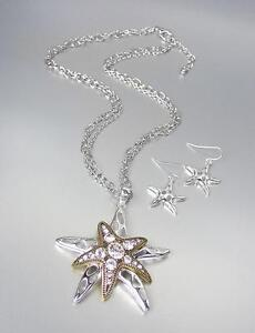 GORGEOUS Designer Silver Gold Crystals Starfish Pendant Necklace Earrings Set necklace pendant watch
