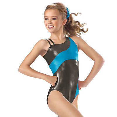 NEW Gabby Metallic Foil Asymmetrical Dance Gymnastics Leotard Child or Adult