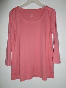 NEW-J-JILL-1X-Perfect-Pima-Seamed-Tee-Top-Shirt-100-Cotton-3-4-Slv-Pink