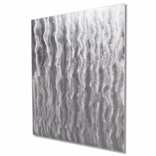 Contemporary Rippled Waves Painting Modern Metal Wall Art Abstract Silver Decor
