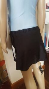 Makamy Girl's Figure Ice Skating Full Skirt Black Spandex Sz8 Bnwt 38 Lustrous Surface Winter Sports