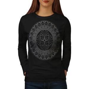Mandala-Femmes-T-shirt-a-manches-longues-Nouveau-wellcoda