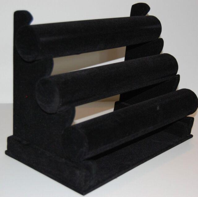 3 Tier Triple T-Bar Bracelet Bangle Jewelry Display Black Velvet