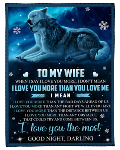 Details about  /Wolfs Love Fleece Blanket Gift For Wife From Husband Sherpa Blankets Christmas