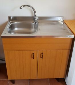 Lavello In Acciaio Con Mobiletto.Dettagli Su Mobile Cucina Famam Marrone Teak Con Lavello Acciaio Inox 80x50 Appoggio Destro