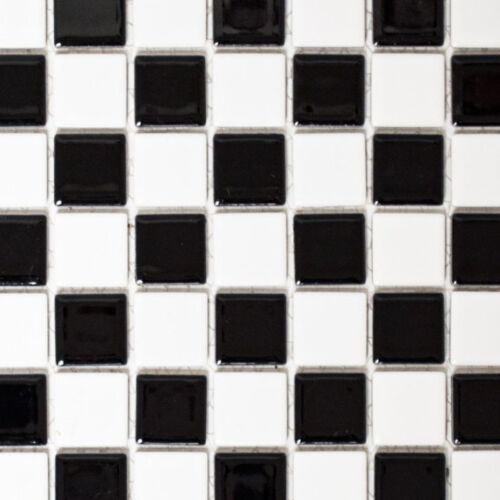 18-030610 nattes Mosaïque damier noir//blanc brillant carrelage miroir type