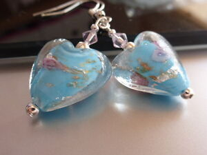 Romantic Blue Heart Glass Earrings with Pink Crystals Drop Dangle Earrings Gift