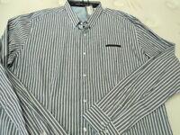 Mens Xxl Christian Audigier Blue & White Striped Button Up Long Sleeve Shirt