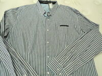 Mens Xxl Christian Audigier Blue & White Striped Button Up Long Sleeve Shirt