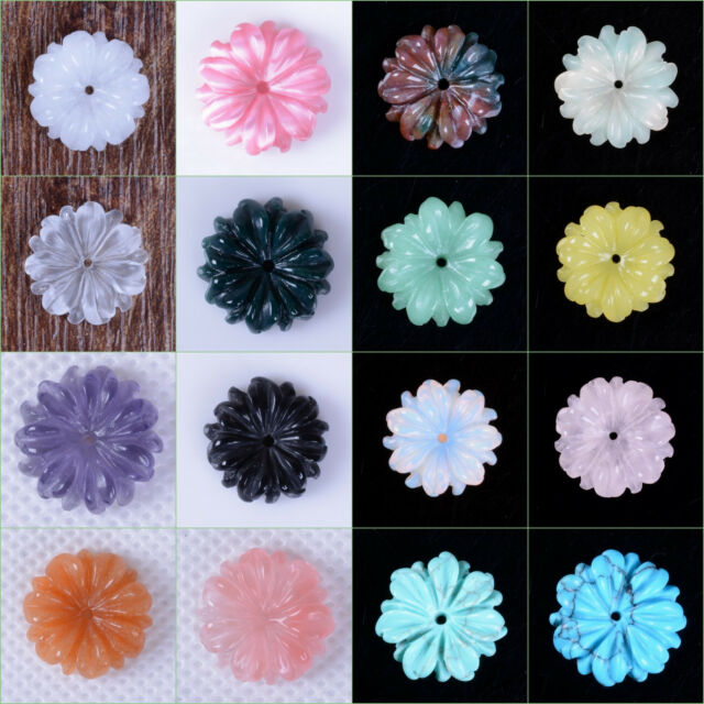 """15mm Carved small flatback daisy flower loose gemstone beads 0.6"""" Save $ in Bulk"""