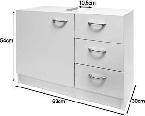 White Under Sink Bathroom Basin Storage Unit Cabinet 3 Drawers Bath