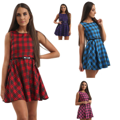 New Women Ladies Sleeveless Lurex Tartan Check Swing Belted Mini Dress