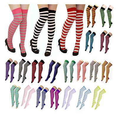 Ladies Striped Stripey Over The Knee Socks Womens Long Neon ColourFancy Dress