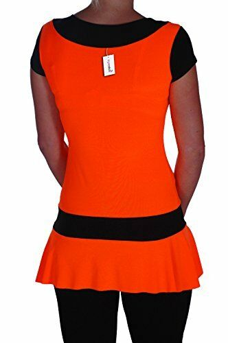 Womens Neon Two Tone Fashion Club Short Sleeve Casual Plain Mini Party Dress Top