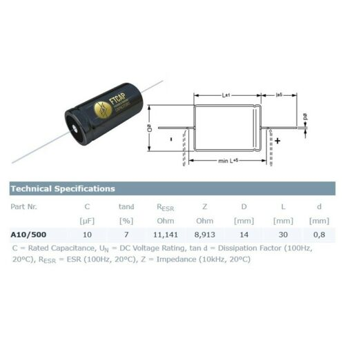 condensatore elettrolitico assiale F/&T Fischer /& Tausche 10uF//500V 14x30mm