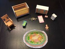 Vintage TOMY Japan Smaller Homes Dollhouse Complete Nursery Furniture Set + Baby
