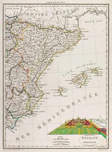 """1812, Carte ancienne Espagne orientale, Catalogne Malte-Brun. Mapa de Catalunya - France - Commentaires du vendeur : """"Cette carte est rare ! Gravure sur acier. Dimensions : 26cm x 35cm. Carte ayant du vécu, dans le bon sens du terme, car ce vécu lui donne un cachet unique. Globalement les marges et bords de la feuille présentent u - France"""