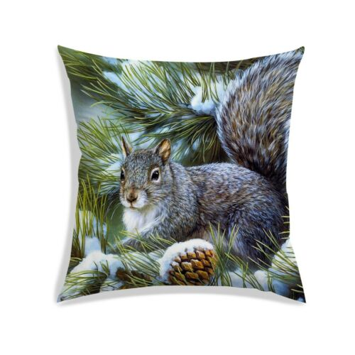 Squirrel Digitally Printed Cushion Cover Gray Satin Bedding Throw 12X12 Inch