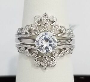 14k-White-Gold-FN-Simulated-Diamond-Solitaire-Enhancer-Guard-Round-Ring-Wrap