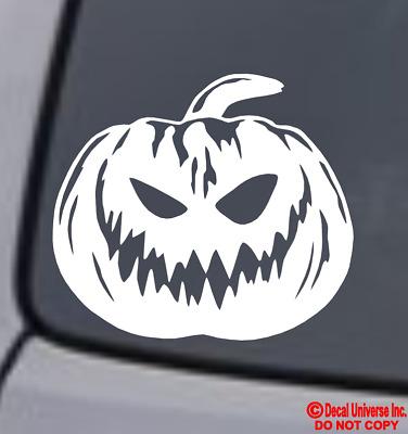"/""HAPPY HALLOWEEN!/"" JACK-O-LANTERN Vinyl Decal Sticker Window Wall Bumper Pumpkin"