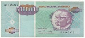 Paper Money: World Diligent Angola 5000000 5.000.000 Kwanzas 1995 Pick 142 Look Scans Quality First