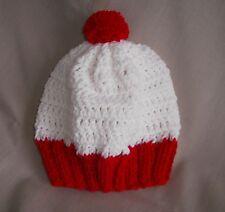 Handmade white & red waldo like knit hat/beanie - child size