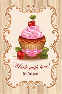 Cupcake-Muffin-Tole-Bouclier-Bouclier-courbe-Metal-Tin-Sign-20-x-30-cm-cc0114