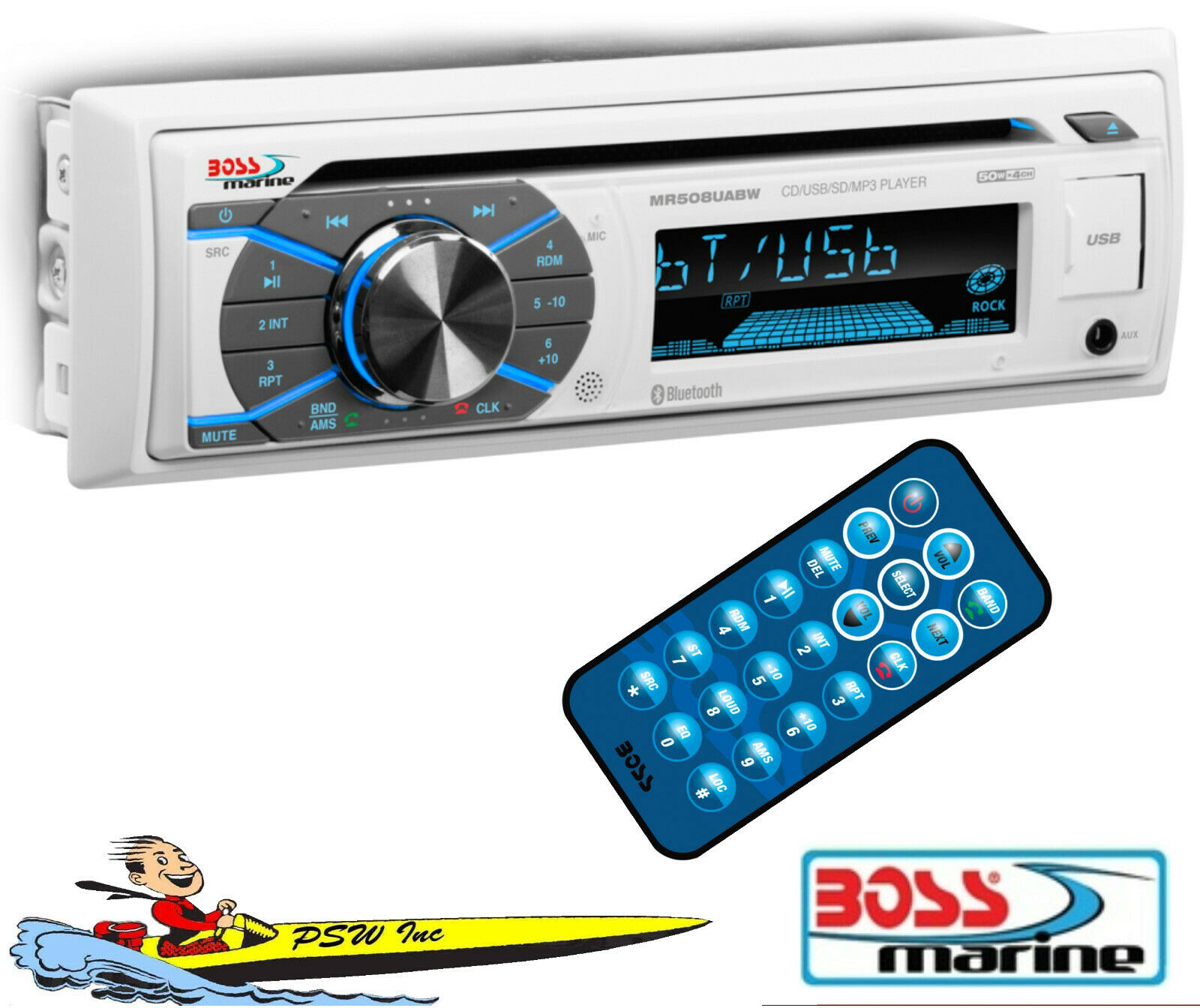 MR508UABS BOSS MARINE Single-DIN CD Player w-Bluetooth Streaming From Cell boss cell from marine mr508uabs player streaming