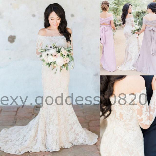 Off Shoulder Mermaid Long Sleeve Wedding Dress Lace Appliques Beach