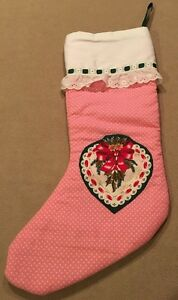 image is loading vintage country christmas stocking lined quilted cotton mistletoe - Country Christmas Stockings