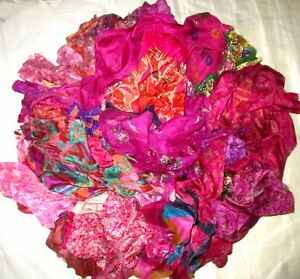 CA-LOT-PURE-SILK-Vintage-Sari-REMNANT-Fabrics-100-GRAMS-Pink-Magenta-ABCYA