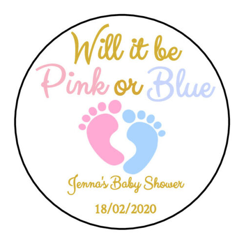24 x BABY SHOWER PERSONALISED GENDER REVEAL LABELS READY TO POP PARTY FAVORS D4