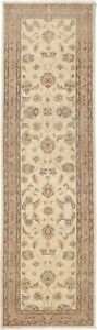 2.5X9 Hand-Knotted Oushak Carpet Traditional Ivory Fine Wool Runner Rug D41438