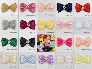 Satin-Bows-Ribbon-Bow-Tie-With-Cluster-of-Beads-10-Many-Colours-Sewing-Craft