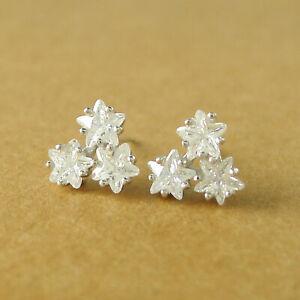 Solid-925-Sterling-Silver-Shine-Bright-Triple-Twickle-CZ-Stars-Stud-Earrings-B