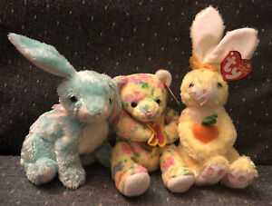 Ty Beanie Babies Spring Bloom Nibblies Set Of 3 Spring Easter Bunnies Rabbits