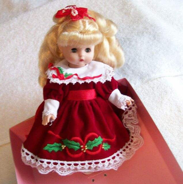 "EFFANBEE 1994  ANNUAL CHRISTMAS DOLL MV144, 8 1/2 "" TALL, BEAUTIFUL RED DRESS"