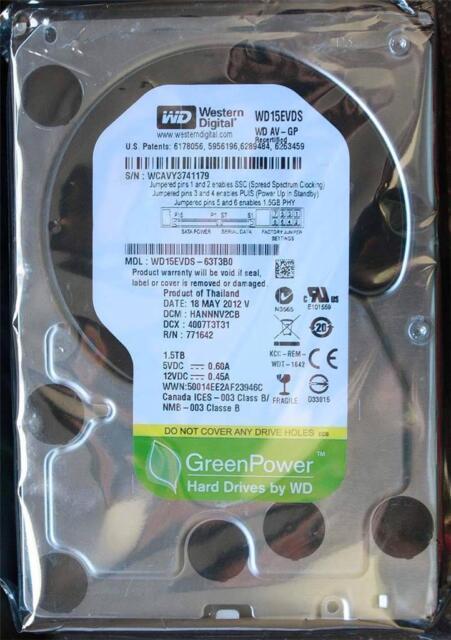 Western Digital 1.5 TB WD15EVDS AV-GP FOR CCTV DVR  ECT SATA 3.5 Hard Drive