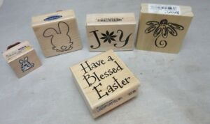 5x-rubber-stamps-Easter-Greetings-bunny-flower