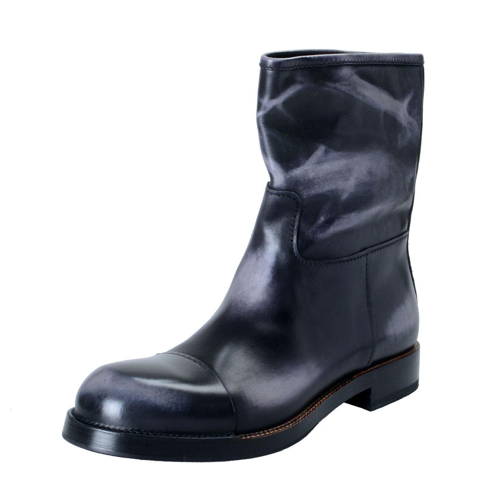 Prada Herren Distressed Grau Leder Motorradstiefel Schuhe Größe 9.5 10.5 11