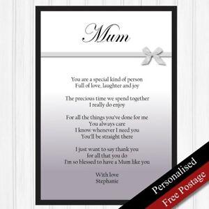 Détails Sur Maman Cadeau Personnalisé Cadeaux Danniversaire Pour Mère Souvenir Mum Poème Nimprimer Que Afficher Le Titre Dorigine