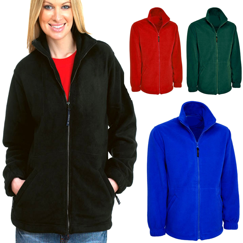 Ladies Loose Fit Plain Fleece Jacket Size 10 to 28 Plus Unisex NEW *UK STOCK*