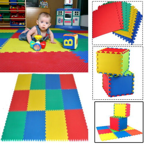 10PCS MULTI COLOR INTERLOCKING EVA FOAM MAT KIDS PLAY GYM FLOOR TILE 30 x 30cm