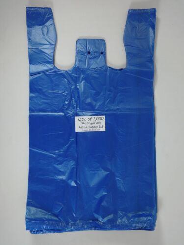 """Blue Plastic T-Shirt Bags w// Handles 1000 Qty 11.5/"""" x 6/""""x 21/"""" Retail Shopping"""