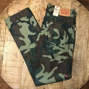Levi-039-s-541-Pants-Chinos-Camouflage-Athletic-Taper-Camo-Green-Mens-Size-32x34